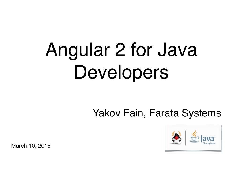 Angular 2 for Java Developers