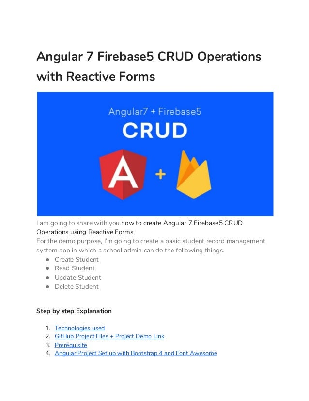 Angular 7 Firebase5 CRUD Operations with Reactive Forms