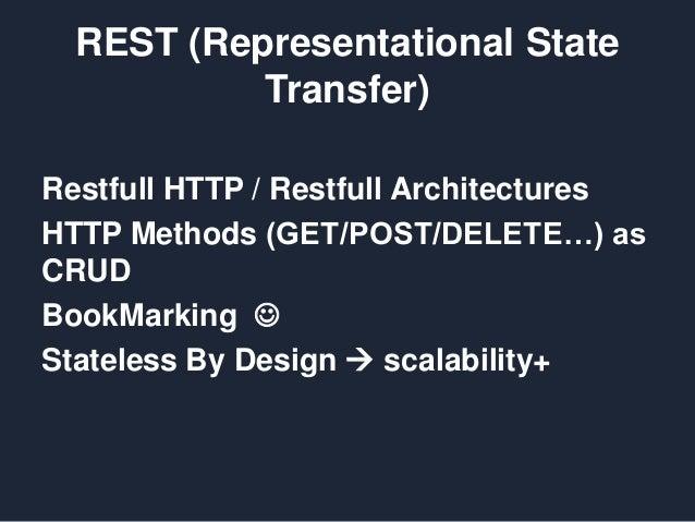 REST (Representational State Transfer) Restfull HTTP / Restfull Architectures HTTP Methods (GET/POST/DELETE…) as CRUD Book...