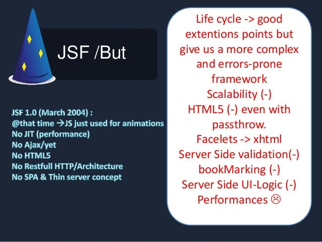 JSF /But Life cycle -> good extentions points but give us a more complex and errors-prone framework Scalability (-) HTML5 ...