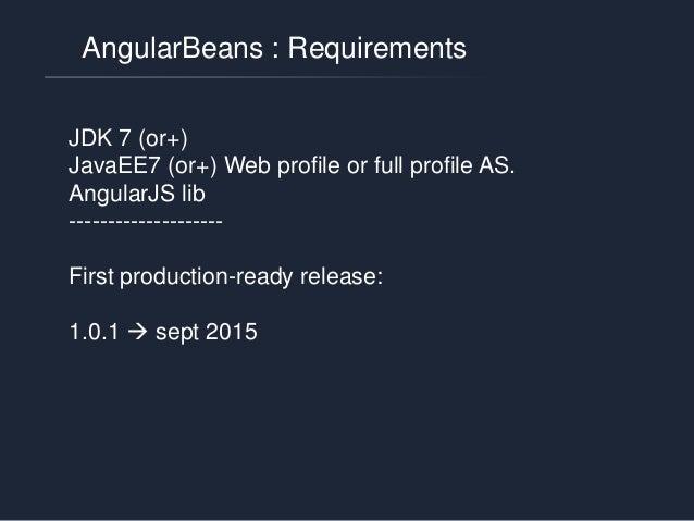 AngularBeans: principle @AngularBean 1 @AngularBean 2 NG Service 1 NG Service 2 NG ctrl NG ctrl NG ctrl @ Other CDI Bean «...