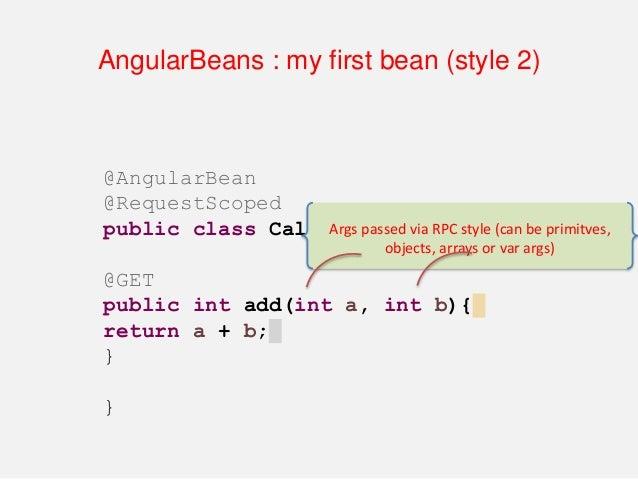 "AngularBeans : my first bean (style 2) :HTML <script type=""text/javascript""> var myApp = angular.module(""myApp"", [ ""angula..."