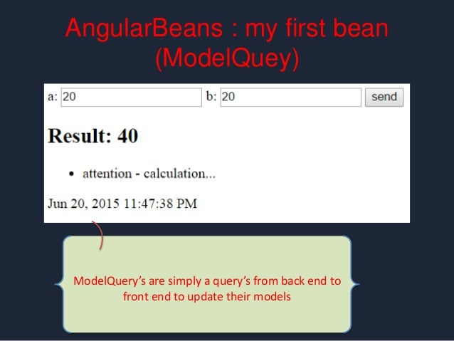 AngularBeans : my first bean real time & events @Inject RealTimeClient client; @RealTime public void notifyOthers(){ RealT...