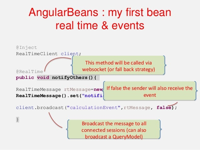 """myApp.controller('calcCtrl', function($scope, calcBean) { angularBeans.bind($scope,calcBean,[""""result"""",""""messages"""" ,""""time""""])..."""