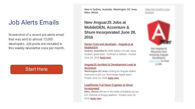 Job Alerts Emails Screenshot of a recent job alerts email that was sent to almost 13,000 developers. Job posts are include...