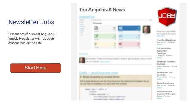 Screenshot of a recent AngularJS Weekly Newsletter with job posts emphasized on the side. Newsletter Jobs Start Here
