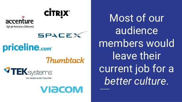 Most of our audience members would leave their current job for a better culture.