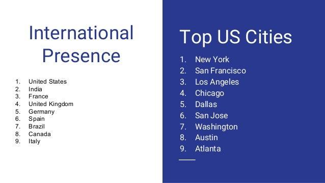 International Presence 1. New York 2. San Francisco 3. Los Angeles 4. Chicago 5. Dallas 6. San Jose 7. Washington 8. Austi...