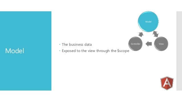 Model  Model   The business data  Exposed to the view through the $scope  Controller  View