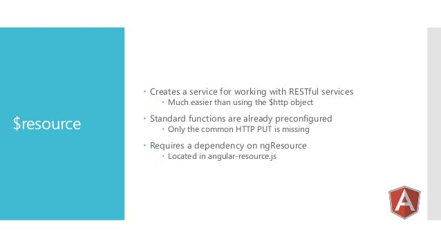  Creates a service for working with RESTful services  Much easier than using the $http object  $resource   Standard fun...