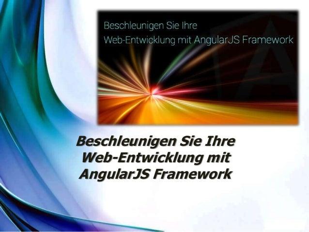 Beschleunigen Sie Ihre Web-Entwicklung mit AngularJS Framework