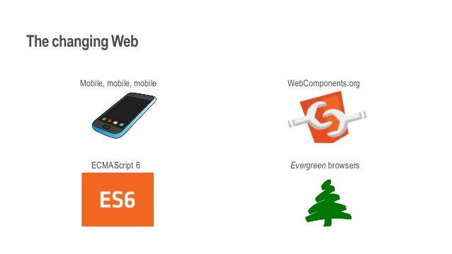 The changing Web Mobile, mobile, mobile WebComponents.org ECMAScript 6 Evergreen browsers