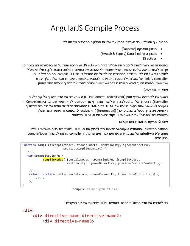 AngularJS Compile Process ההבנה איך אנגולר עובד מצריכה להבין את שלושת החלקים המרכזים של אנגולר:     ...