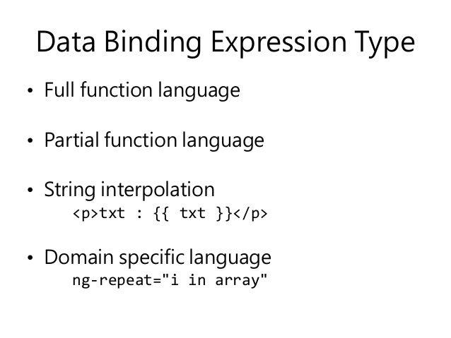 Data Binding Expression Type • Full function language • Partial function language • String interpolation <p>txt : {{ txt }...
