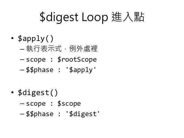 $digest Loop 進入點 • $apply() – 執行表示式,例外處裡 – scope : $rootScope – $$phase : '$apply' • $digest() – scope : $scope – $$phase ...