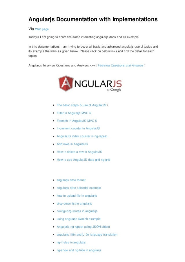 AngularJs Live demo Example with Documentations