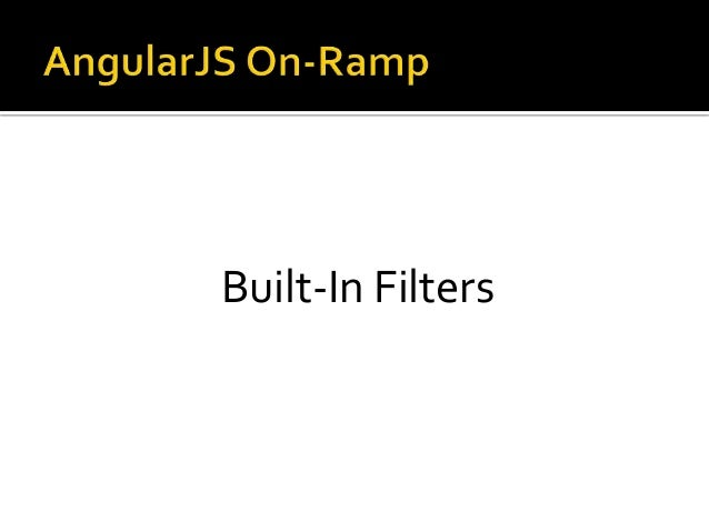 Built-In Filters