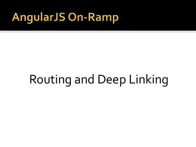 Routing and Deep Linking
