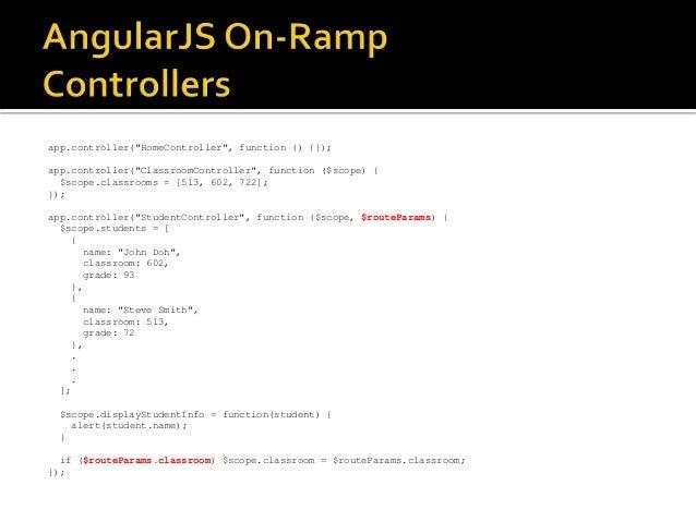 "app.controller(""HomeController"", function () {}); app.controller(""ClassroomController"", function ($scope) { $scope.classro..."
