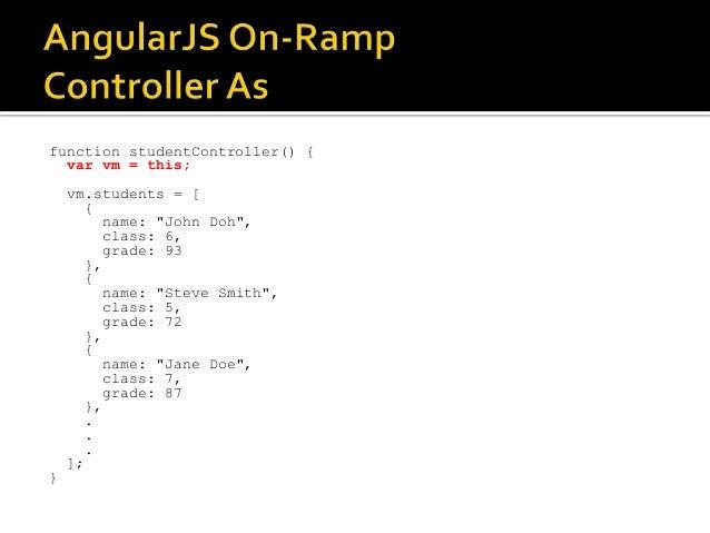 "function studentController() { var vm = this; vm.students = [ { name: ""John Doh"", class: 6, grade: 93 }, { name: ""Steve Sm..."