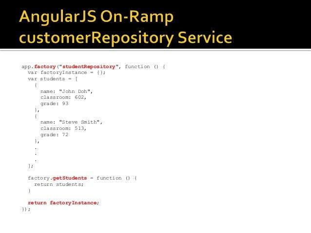"app.factory(""studentRepository"", function () { var factoryInstance = {}; var students = [ { name: ""John Doh"", classroom: 6..."
