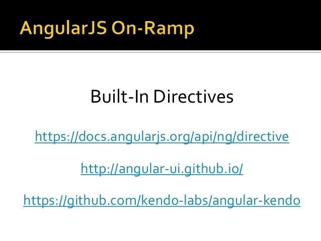 Built-In Directives https://docs.angularjs.org/api/ng/directive http://angular-ui.github.io/ https://github.com/kendo-labs...