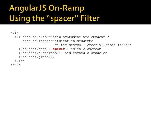 "<ul> <li data-ng-click=""displayStudentInfo(student)"" data-ng-repeat=""student in students   filter:search   orderBy:'grade'..."