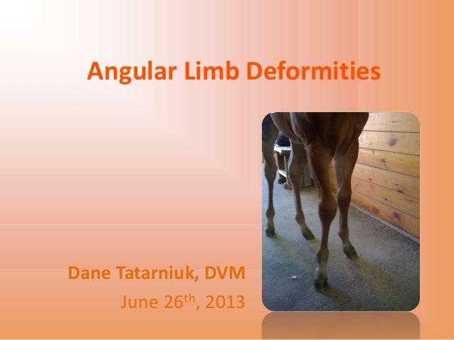 Angular Limb DeformitiesDane Tatarniuk, DVMJune 26th, 2013