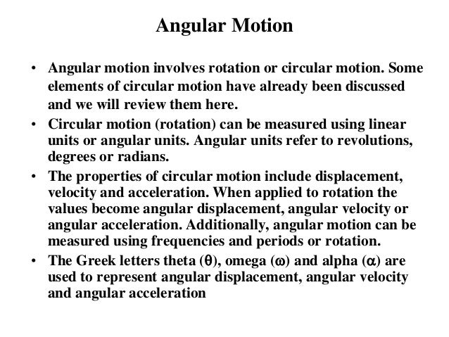 angular motion rotation dynamics