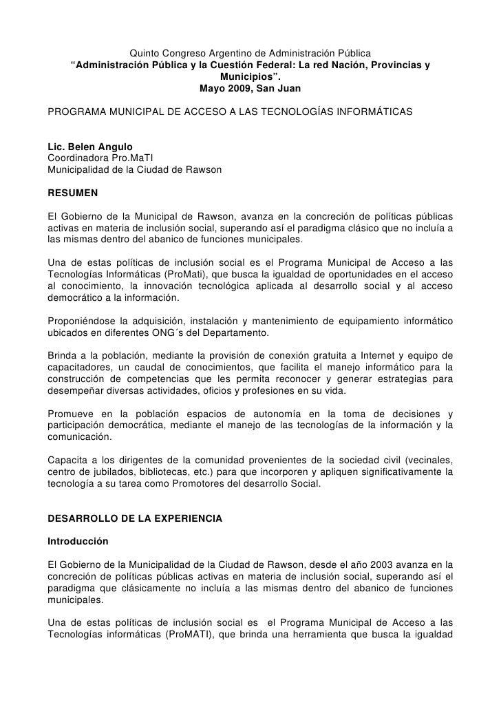 """Quinto Congreso Argentino de Administración Pública      """"Administración Pública y la Cuestión Federal: La red Nación, Pro..."""