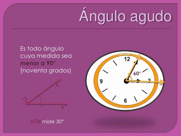 Ángulo agudo  <br />Es todo ángulo cuya medida sea menor a 90° (noventa grados)<br />60°<br />A<br />O<br />B<br />AÔB mid...