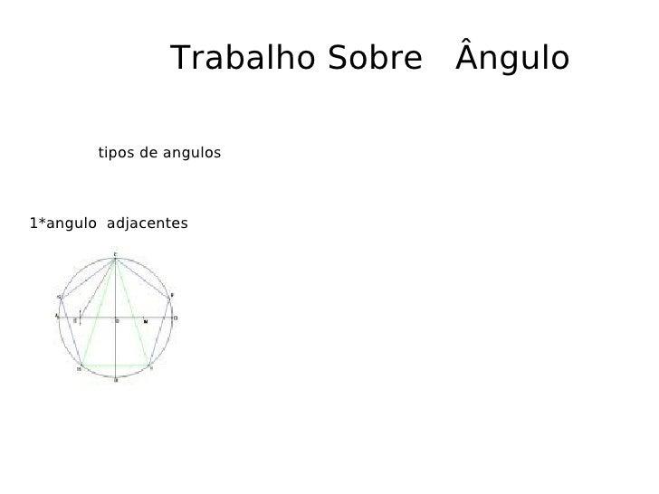 Trabalho Sobre  Ângulo tipos de angulos 1*angulo  adjacentes