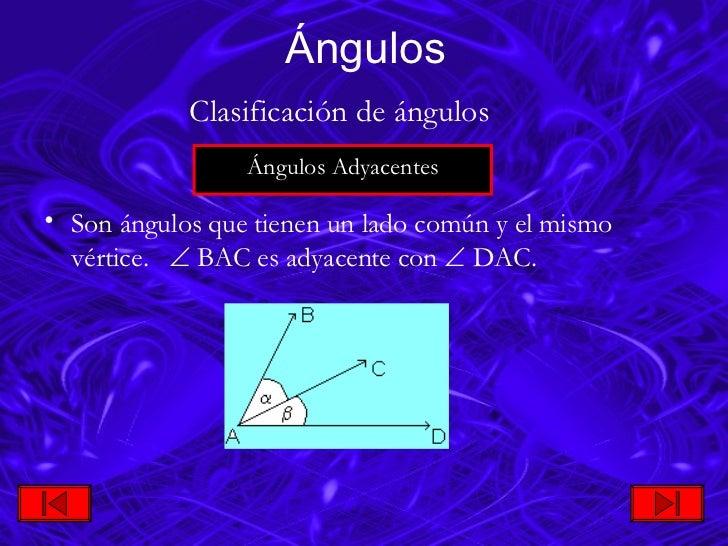 <ul><li>Son ángulos que tienen un lado común y el mismo vértice.    BAC es adyacente con   DAC. </li></ul>Ángulos Ángu...