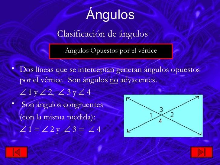 <ul><li>Dos líneas que se interceptan generan ángulos opuestos por el vértice. Son ángulos  no  adyacentes.  </li></ul>...
