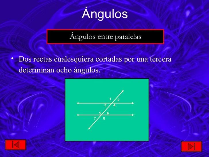<ul><li>Dos rectas cualesquiera cortadas por una tercera determinan ocho ángulos . </li></ul>Ángulos Ángulos entre paralel...