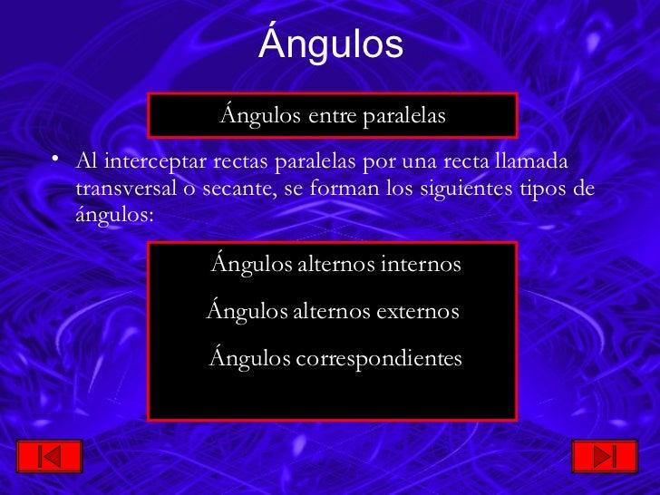 <ul><li>Al interceptar rectas paralelas por una recta llamada transversal o secante, se forman los siguientes tipos de áng...