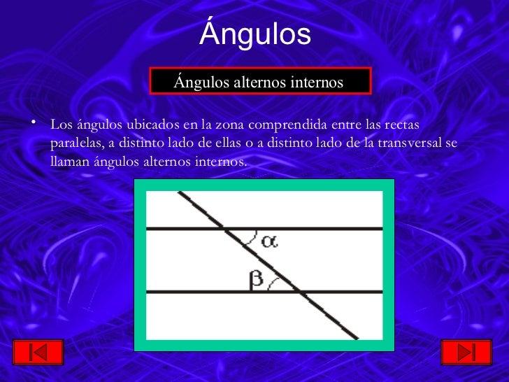<ul><li>Los ángulos ubicados en la zona comprendida entre las rectas paralelas, a  distinto lado de ellas o a distinto lad...