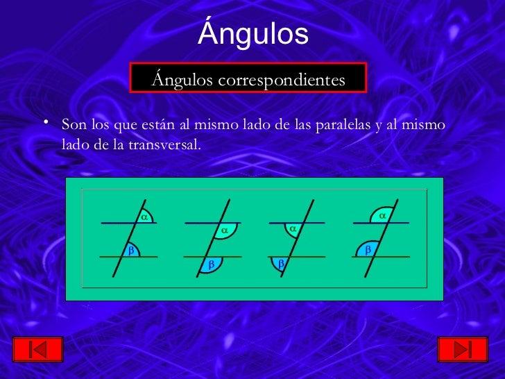 <ul><li>Son los que están al mismo lado de las paralelas y al mismo lado de la transversal. </li></ul>Ángulos Ángulos  cor...