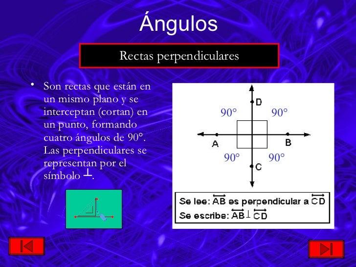 <ul><li>Son rectas que están en un mismo plano y se interceptan (cortan) en un punto, formando cuatro ángulos de 90 ° . La...