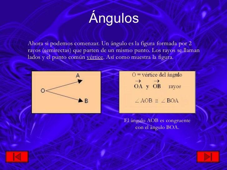 Ángulos <ul><li>Ahora si podemos comenzar. Un ángulo es la figura formada por 2 rayos (semirectas) que parten de un mismo ...