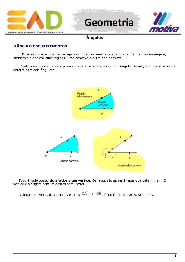 Geometria Ângulos O ÂNGULO E SEUS ELEMENTOS Duas semi-retas que não estejam contidas na mesma reta, e que tenham a mesma o...