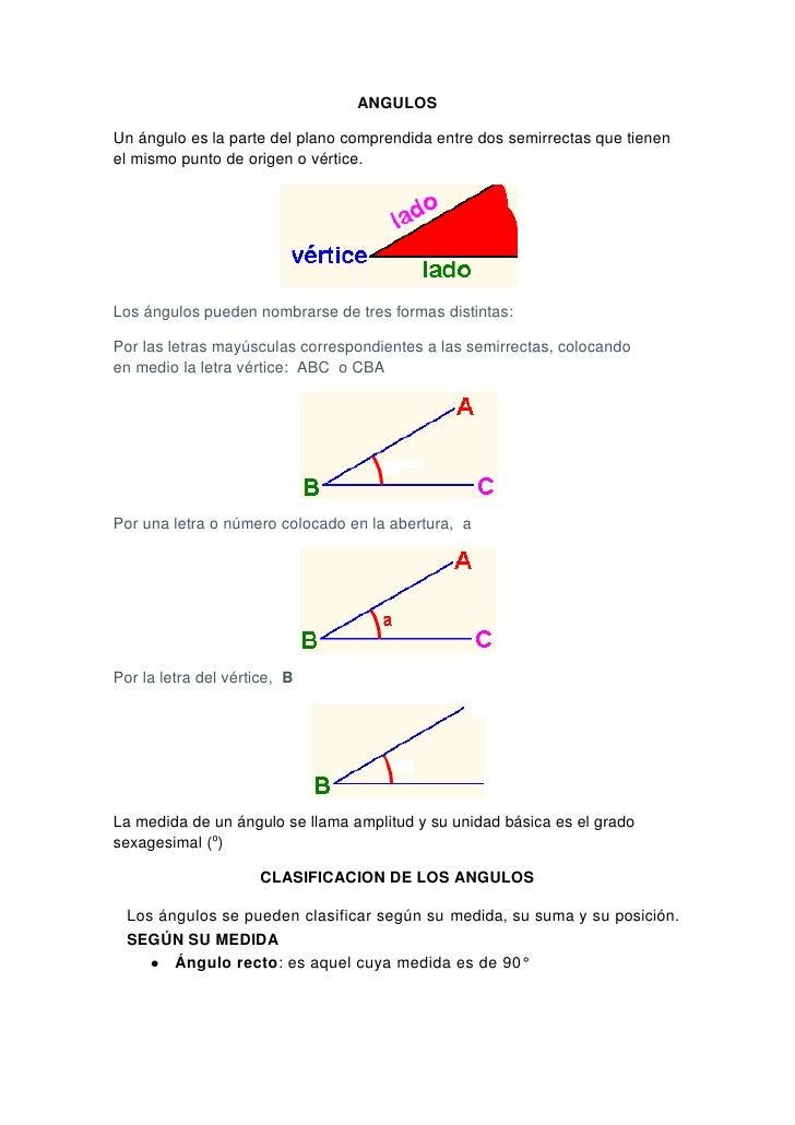 ANGULOSUn ángulo es la parte del plano comprendida entre dos semirrectas que tienenel mismo punto de origen o vértice.Los ...