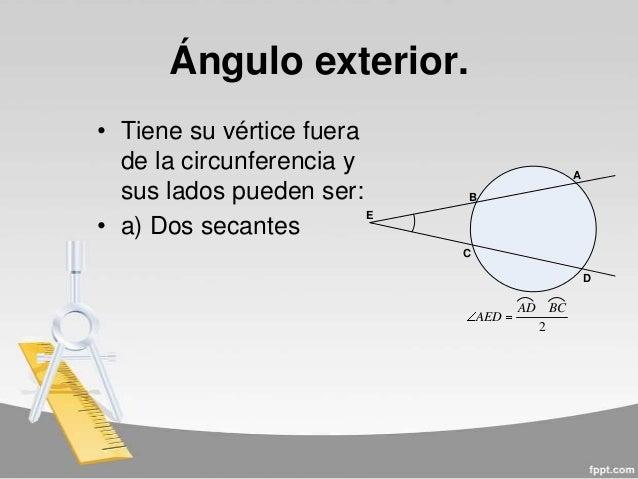 Angulos notables en la circunferencia for Exterior tangente y secante