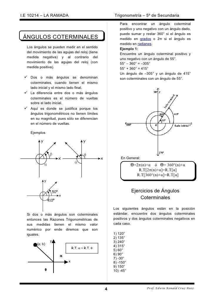 Asombroso ángulos Coterminales Hoja De Trabajo Ilustración - hojas ...