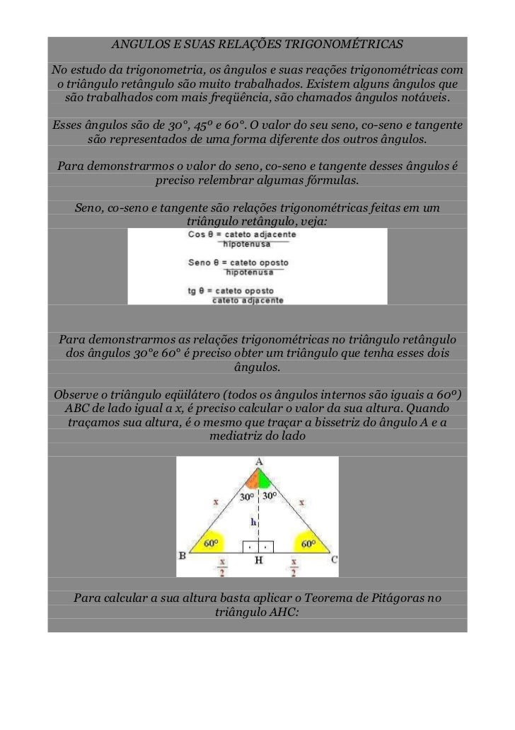 ANGULOS E SUAS RELAÇÕES TRIGONOMÉTRICASNo estudo da trigonometria, os ângulos e suas reações trigonométricas com o triângu...