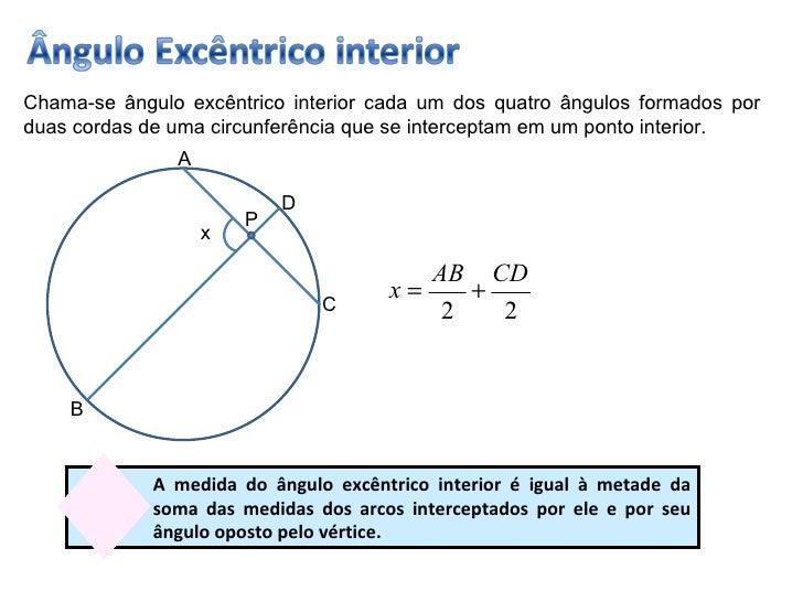 258a31f39f ... 4. Chama-se ângulo excêntrico interior cada um dos quatro ângulos  formados por duas cordas de uma circunferência ...