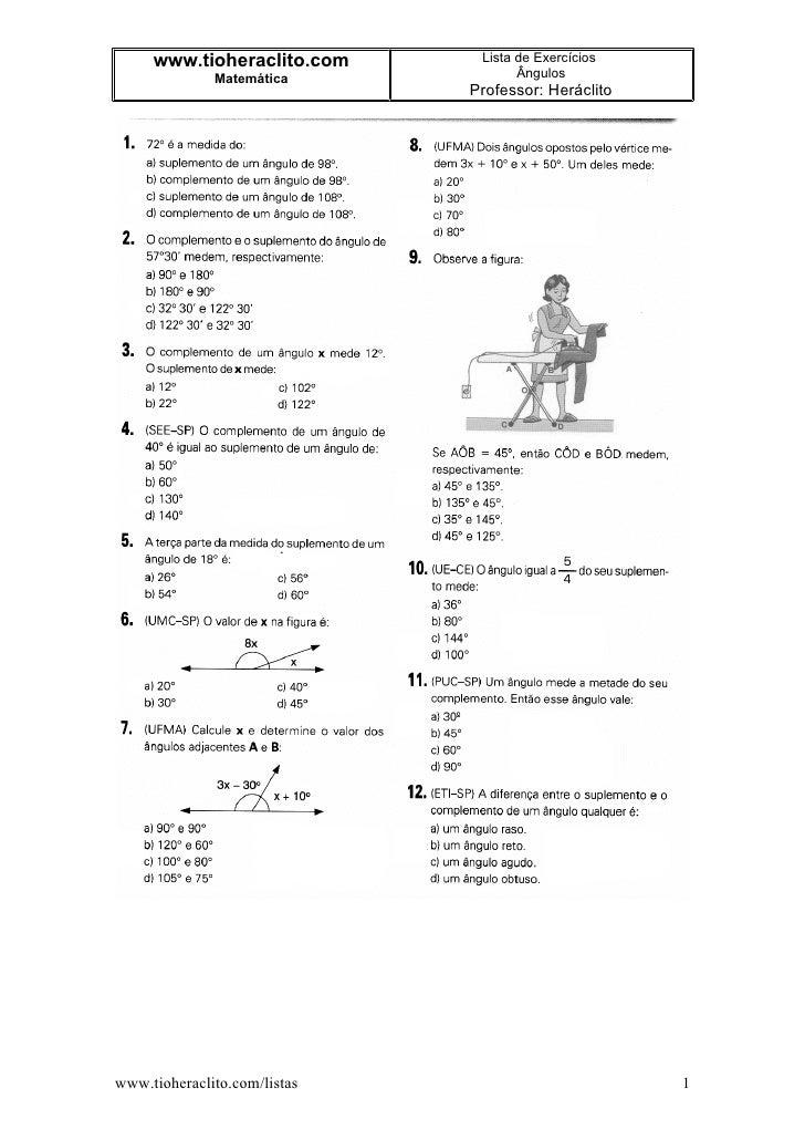 www.tioheraclito.com      Lista de Exercícios               Matemática             Ângulos                               P...