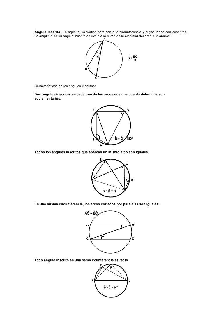 Ángulo inscrito: Es aquel cuyo vértice está sobre la circunferencia y cuyos lados son secantes. La amplitud de un ángulo i...