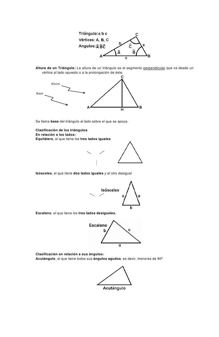 Altura de un Triángulo: La altura de un triángulo es el segmento perpendicular que va desde un     vértice al lado opuesto...