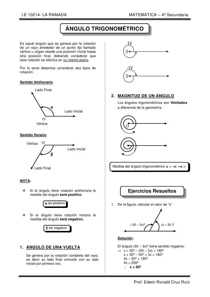 I.E 10214- LA RAMADA                                            MATEMÁTICA – 4º Secundaria                                ...